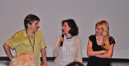 Presentación de La vida inesperada en la 41ª edición del Festival de Cine de Huesca. Con Gaizka Urresti, Andrea Clavería (en el centro) y Vicky Calavia