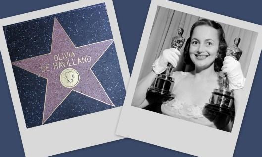 """Olivia de Havilland con sus dos estatuillas como mejor actriz, ganadas por """"La vida íntima de Julia Norris"""" (1946) y """"La heredera"""" (1949), habiendo sido también candidata a este Oscar por """"Si no amaneciera"""" (1941) y """"Nido de víboras"""" (1948), y nominada como mejor actriz de reparto por """"Lo que el viento se llevó"""" (1939). Cuenta también con estrella propia en el Paseo de la Fama de Hollywood, en el 6762 de Hollywood Boulevard."""