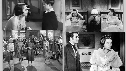 """Imágenes de cuatro de sus mejores personajes dramáticos. De izquierda a derecha, en la parte superior, fotogramas de los largometrajes """"Vida íntima de Julia Norris"""" y """"A través del espejo""""; en la parte inferior, de """"Nido de víboras"""" y de """"La heredera"""""""