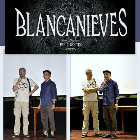 """Uno de los platos fuertes de estas Jornadas, la proyección del largometraje """"Blancanieves"""". Josu Azcona presentando a Pablo Berger, que dijo sentirse en Uncastillo como """"en casa"""" y ya estar pensando en qué películas se podían rodar allí, """"porque es un lugar muy especial"""""""