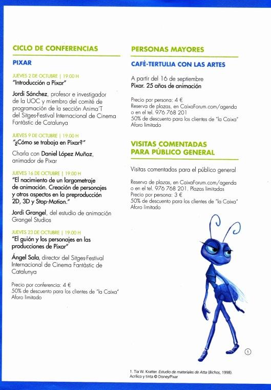 Pixar-CaixaForum Zaragoza-Ciclo Conferencias