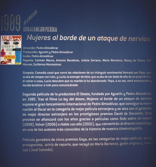 Pedro Almodovar-Mujeres al borde de un ataque de nervios-Exposicion 25 aniversario Premios Goya-Madrid