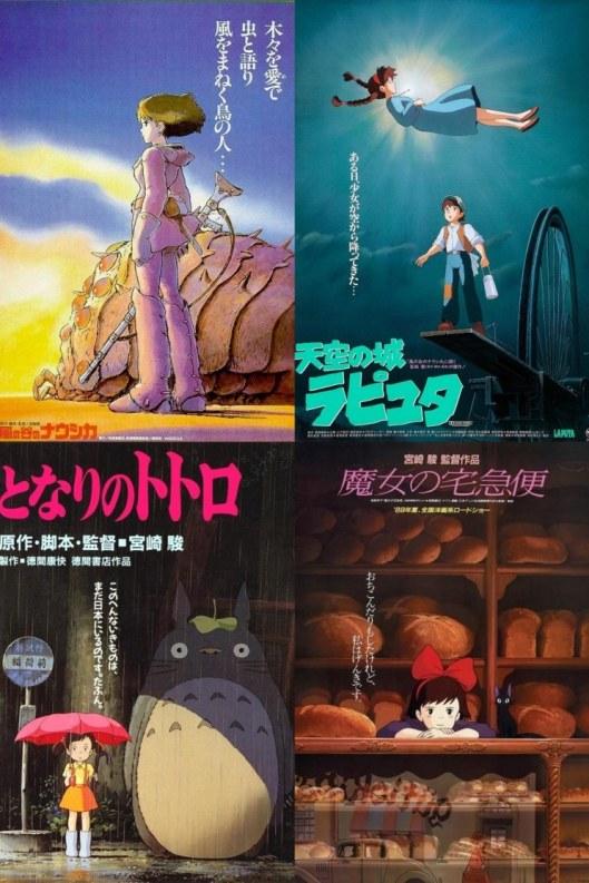 Carteles en japonés largometrajes de Miyazaki-Nausicaa-Castillo en el cielo-Totoro-Nicky