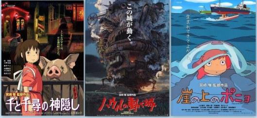 Carteles en japonés de largometrajes de Miyazaki-Chihiro-Castillo ambulante-Ponyo