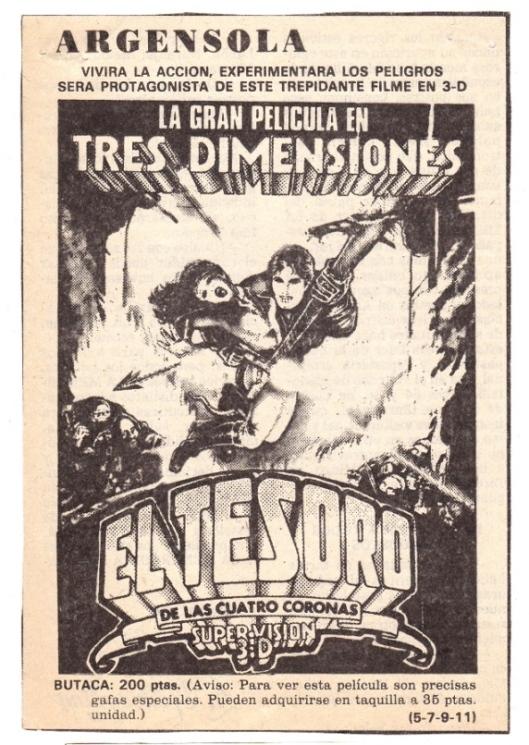 Publicidad en prensa-Cine Argensola-El tesoro de las cuatro coronas-Supervision 3D-Fondo Atmosferacine