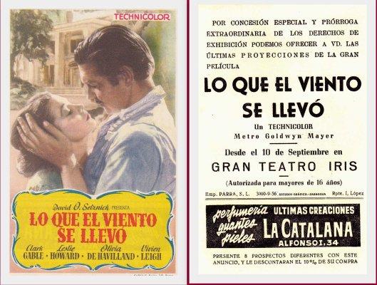 Lo que el viento se llevó-Afiche-Gran Teatro Iris Zaragoza-Años 50