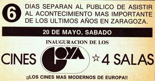 Cines Cines Goya-Zaragoza-Reapertura mayo 1989