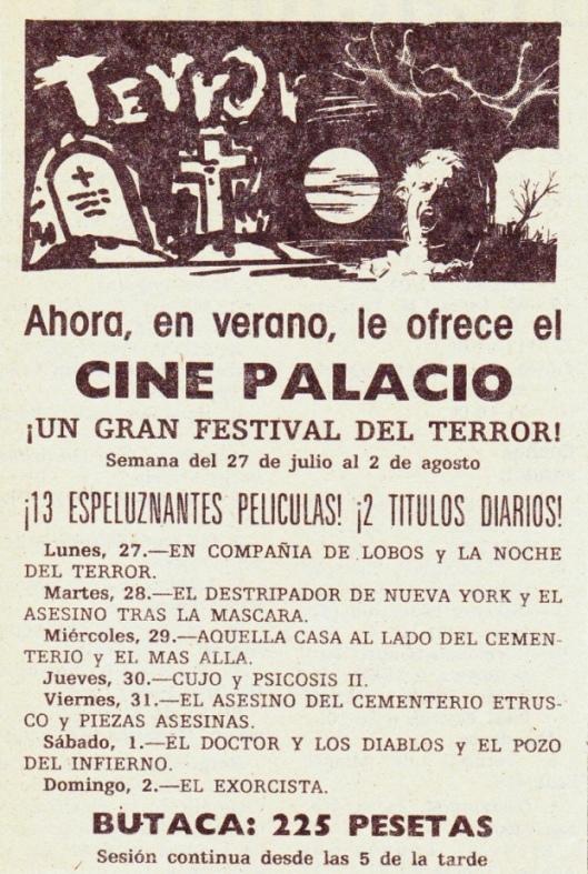 Cine Palacio-Zaragoza-Cartelera-Ciclo Terror-Años 80