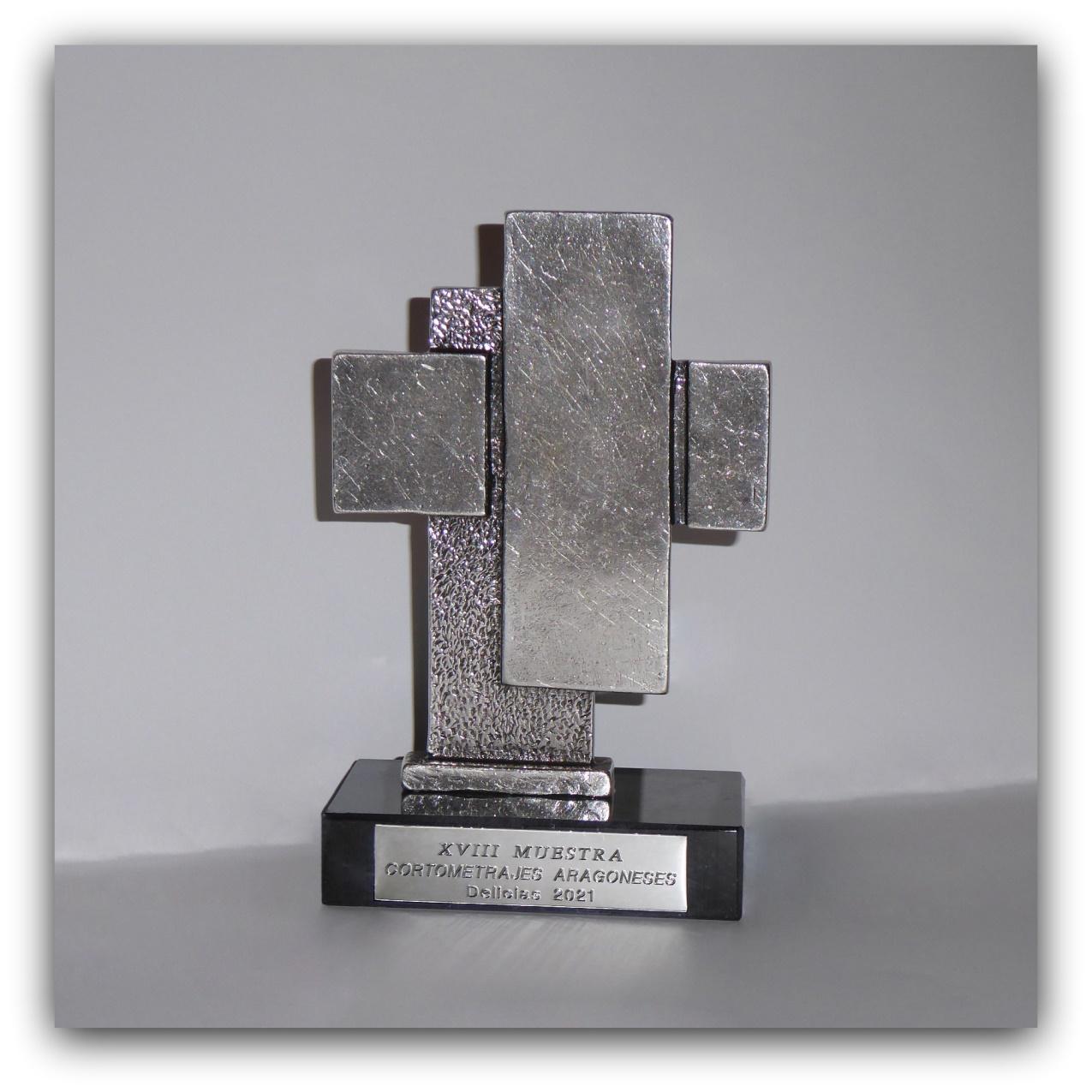 Trofeo Muestra Cortometrajes Aragoneses Delicias-Obra del escultor Carlos Garcia Lahoz-Foto Atmosferacine