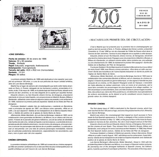 Correos-Sellos Centenario Cine Español-1996-Interior folleto-Foto AtmosferaCine